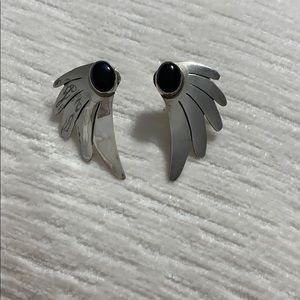 Sterling silver and onyx stud earrings